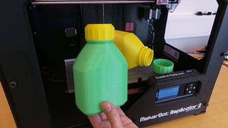 3D imprimibles de botella y tapón de rosca