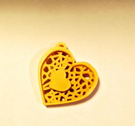 Double Heart Voronoi pendant