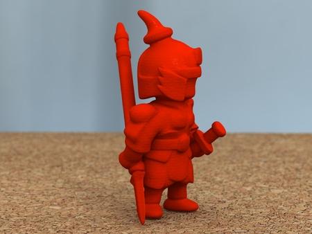 Chino antiguo guerrero con lanza