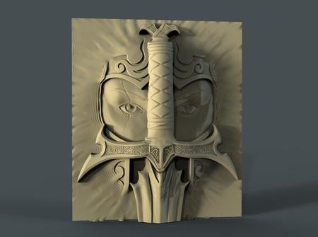viking cara espada cnc art frame