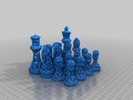 Chess set wireframe  3d model for 3d printers